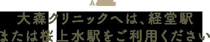 大森クリニックへは、経堂駅または桜上水駅をご利用ください